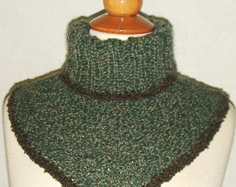 Cowl/ Neck Warmer for Men/ Unisex  in Green with  Brown Boucle Edges
