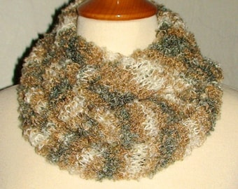 Clearance Sale - Moebius Cowl/ Shoulder Warmer Brown White Grey Mohair Boucle