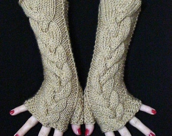 Fingerless Gloves Cabled  Wrist Warmers Beige  Light Brown