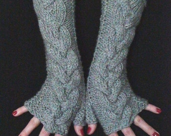 Fingerless Gloves Light Grey Cabled  Wrist Warmers, Extra Soft and Long made of Acrylic