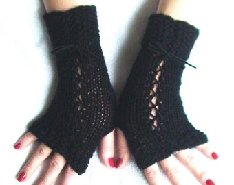 Fingerless Gloves Black with Suede Ribbons Victorian Style