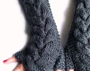 Grey Fingerless Gloves Wrist Warmers, Cabled, Extra Long and Soft, Grey