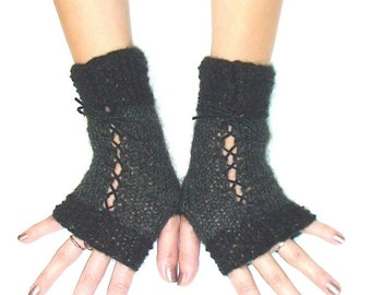 Fingerless Gloves Black Grey Corset Wrist Warmers with Suede Ribbons Victorian Style