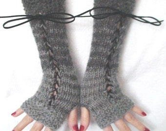 Fingerless Gloves Arm Warmers Striped Mohair Wool Corset in Light and Dark Grey with Suede Ribbons Victorian Style