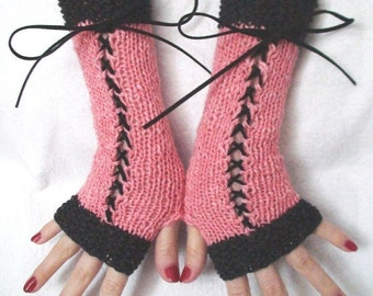 Fingerless Gloves Rose Pink and Charcoal Grey with Suede Ribbons Victorian Style