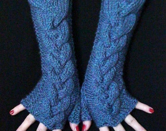 Fingerless gloves Mittens, Acrylic Fingerless Gloves Knit Denim Blue Cabled Wrist Warmers, Soft and Long