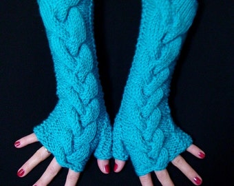 Fingerless Gloves Knit Turquoise Blue Soft Cabled  Wrist Warmers