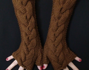 Fingerless Mittens Gloves Brown Cabled / Wrist Warmers, Soft and Long