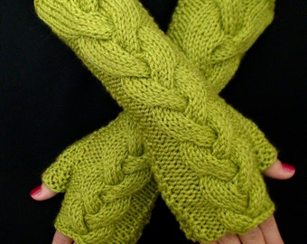 Fingerless Gloves Long Asparagus Light Green Lime Chartreuse Cabled Wrist Warmers Extra and Soft