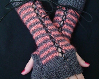 Fingerless Gloves Striped Corset Wrist Warmers in Rose Red and Dark Grey with Suede Ribbons Victorian Style