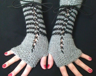 Fingerless Gloves Grey Black Striped Corset with Suede Ribbons Victorian Style