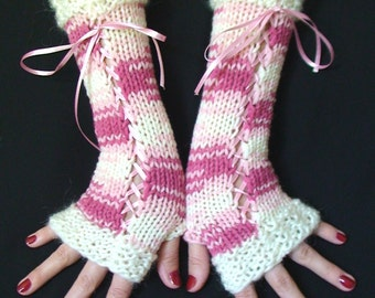 Fingerless Gloves Long Woolen Corset  Arm Warmers in Pink Shades and White with Satin Ribbons, Victorian Style