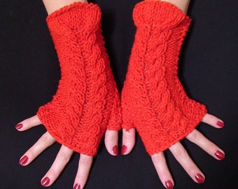 Fingerless Gloves Knit Red  Wrist Warmers Cabled