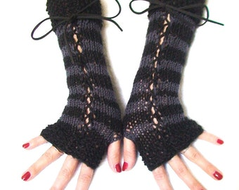 Fingerless Gloves Black Grey Striped Alpaca Wool Corset Arm Warmers Victorian Style