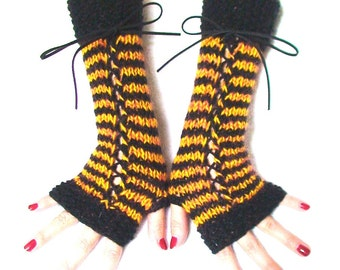 Fingerless Gloves Long Corset Striped Black Yellow/ Orange Wrist Warmers with Suede Ribbons, Mohair, Wool