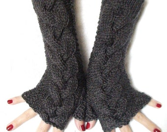 Fingerless Gloves Grey  Wrist Warmers Dark Grey Cabled , Extra Long and Soft