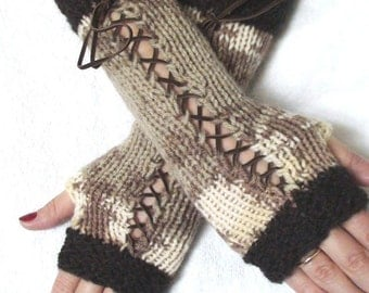Fingerless Texting Gloves in Brown Taupe White and Cream Corset with Brown Suede Ribbons, Victorian Style