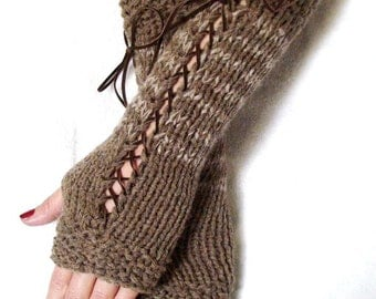 Fingerless Gloves Taupe Earth Brown Long Corset Arm Warmers with Brown Suede Ribbons, Victorian Style