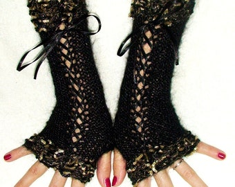 Fingerless Gloves Luxury  Black Silky Mohair  Corset with Golden Black edges and Satin Ribbons  Victorian Style