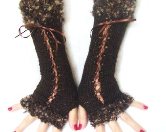 Fingerless Gloves Long Knit Corset Arm Warmers in Dark Brown with Satin Ribbons and Brown Shades Boucle Edges Victorian Style