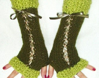 Fingerless Gloves Long Knit Corset Wrist Warmers in Dark Green and Chartreuse with Satin Ribbons Victorian Style