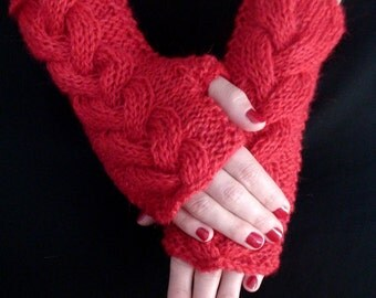 Fingerless Gloves Cabled Wrist Warmers Red Warm Rustic Handknit  in Natural Wool and Mohair