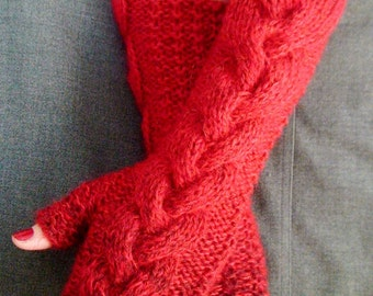 Fingerless Gloves Red with Black  Shades Cabled  Arm Warmers, Natural and Warm in Wool and Kid Mohair