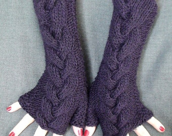 Fingerless Gloves Warm Wrist Warmers Purple Dark Violet Cabled  Extra Long and Soft