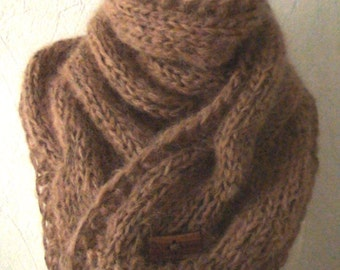 Chunky Scarf Winter Cowl  Light Brown  Extra Thick Cabled Long