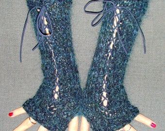 Fingerless Gloves Knit Woolen Corset Wrist Warmers in Dark Blue/ Navy/ Ocean with Leather Ribbons Victorian Style