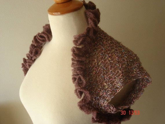 Shrug Rose Brown Handmade Ruffled with a Flower Brooch