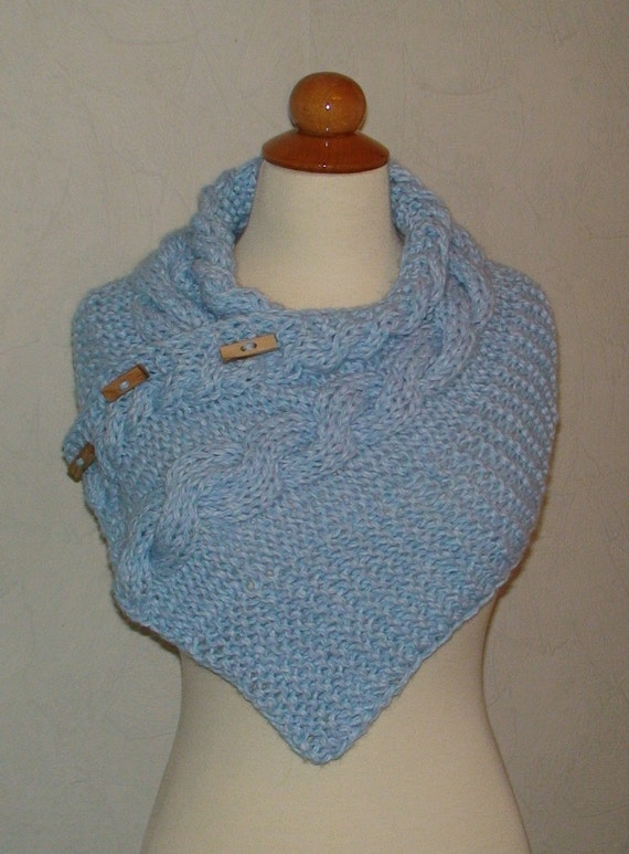 Cowl Shoulder Warmer Cabled Light Blue Baby Soft SALE