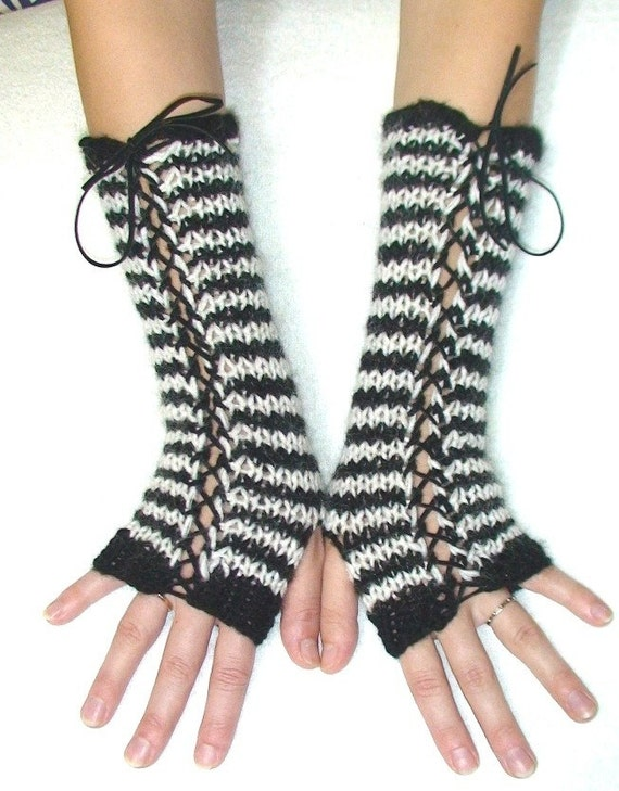 Fingerless Gloves Black and White Striped Corset Arm Warmers with Suede Ribbons