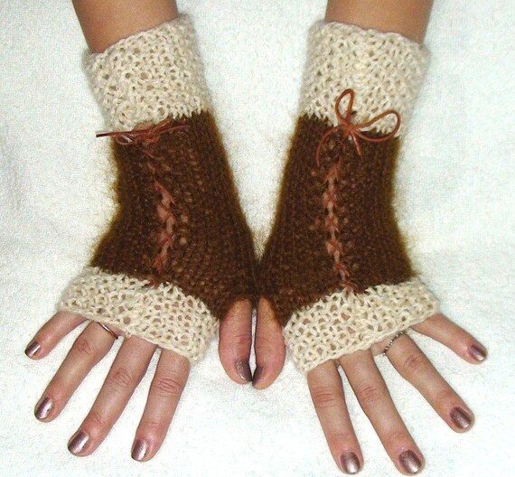Miss Riga-Luxury Fingerless Gloves in Brown and Cream with Leather Ribbons Victorian Style