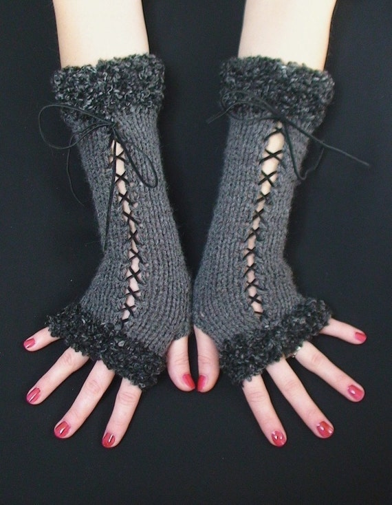Fingerless Gloves Long  Corset  Wrist Warmers in Dark Grey with Suede Ribbons and Grey Boucle Edges Victorian Style