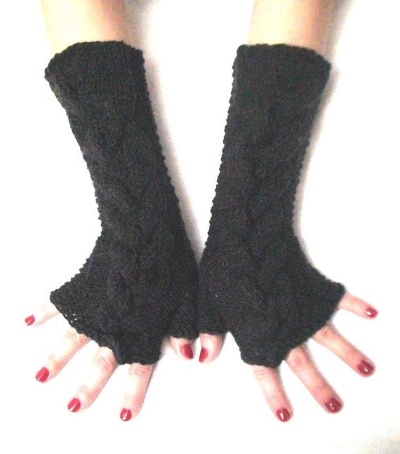 Fingerless Gloves Knit Wrist Warmers Charcoal Grey Cabled, Extra Long and Soft