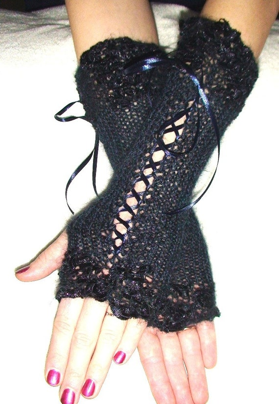 Fingerless Gloves Luxury Dark Blue/ Navy  Silky Mohair Corset with Lurex and Satin Ribbons  Victorian Style