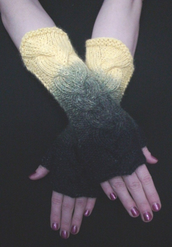 Fingerless Gloves Cabled Wrist Warmers in Yellow and Navy/ Dark Blue Extra Soft and Warm