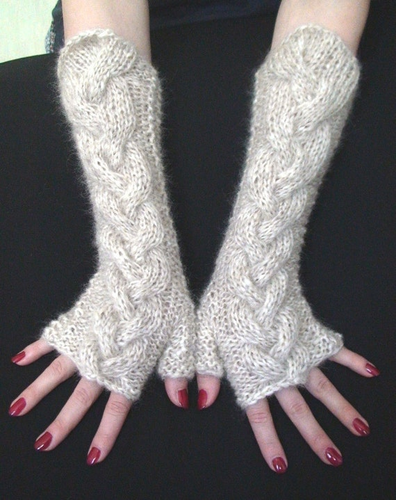 Fingerless Gloves Knit Beige Cabled / Wrist Warmers, Extra Soft, Long and Warm