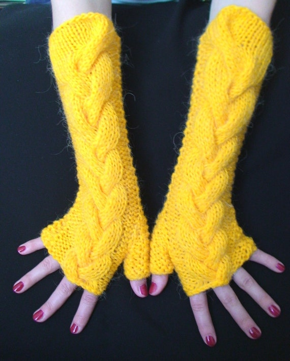 Fingerless Gloves Knit Yellow   Handmade Cabled Arm Warmers, Extra Long and Warm in Mohair