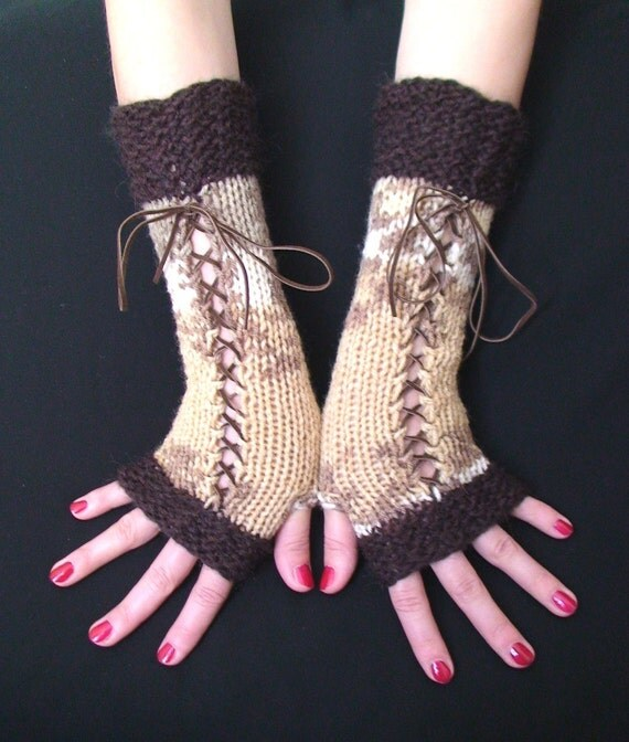 Fingerless Gloves Corset Hand Warmers Woolen in Brown Taupe White and Cream with Brown Suede Ribbons, Victorian Style