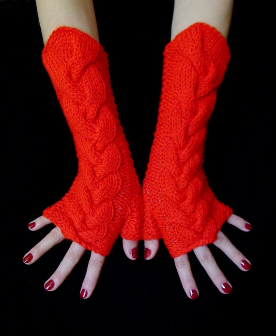 Fingerless Gloves/ Wrist Warmers Hot Red Cabled , Soft and Long