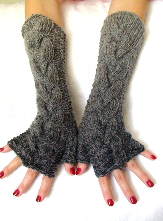 Fingerless Gloves -  Grey Shades Cabled  Woolen Winter Arm Warmers, Long and Warm