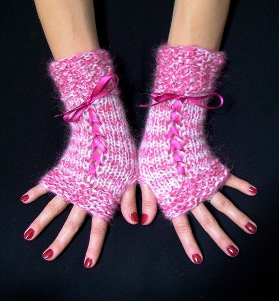 Fingerless Mittens, Light Pink/ Peony Corset Gloves with Satin Ribbons, Romantic and  Feminine