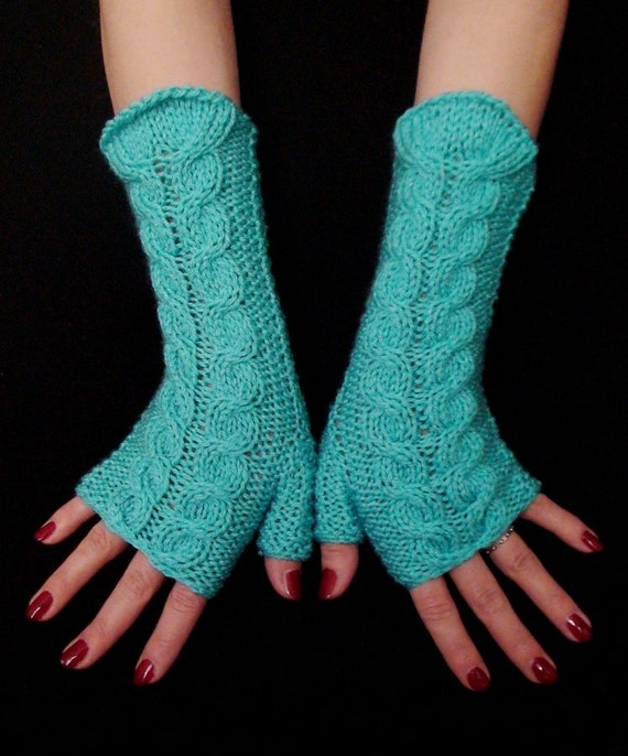 Fingerless Gloves Wrist Warmers Handknit Turquoise, Cabled,  Warm and Soft, Acrylic