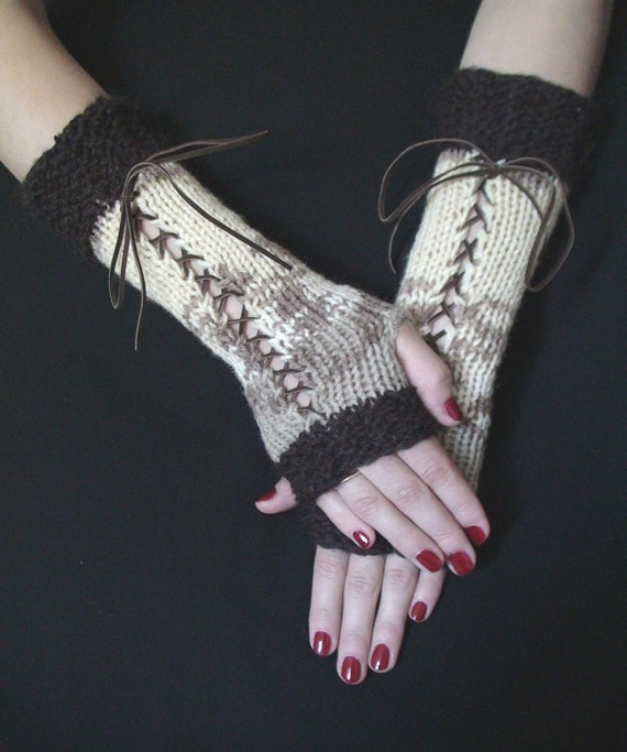 Long Fingerless Gloves Corset in Brown Taupe White and Cream with Brown Suede Ribbons, Victorian Style