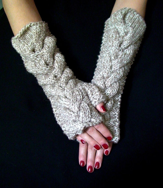 Fingerless Gloves Chunky Light Brown Tweed Cabled  Wrist Warmers, Super Warm , Soft and Long