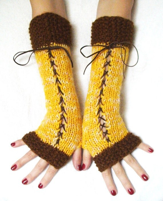 Fingerless Gloves Long Yellow Corset  Copper Brown  Suede Ribbons Mohair Natural  Wool