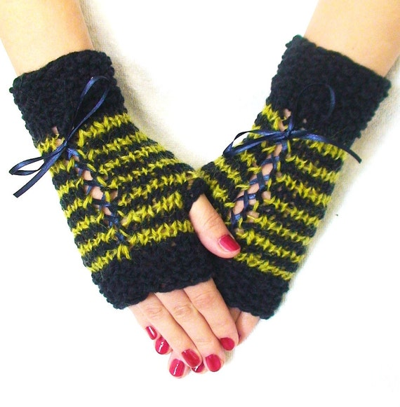 Fingerless Gloves Striped  Chartreuse/ Navy/ Dark Blue  Wrist Warmers with Satin Ribbons Handknit
