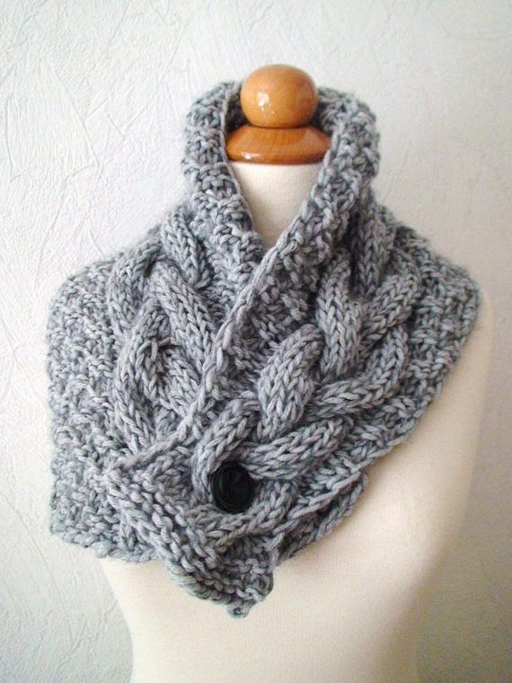 Cowl Neck Warmer Scarf Grey Handknit Cabled Warm Extra Thick in Soft Wool